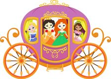 Illustration of happy princess with royal carriage Royalty Free Stock Images