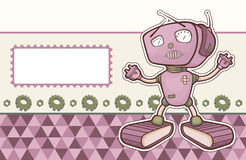 Illustration with a happy robot. Royalty Free Stock Photos
