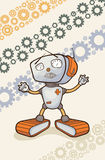 Illustration with a happy robot. Royalty Free Stock Photography