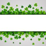 St. Patrick`s Day banner with green shamrocks. Illustration of Happy Saint Patricks Day Background with clover leaves Royalty Free Stock Images