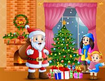 Happy santa and parent with daughter in the living room with christmas and new year decoration. Illustration of Happy santa and parent with daughter in the Royalty Free Stock Photos