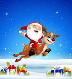 Happy santa riding a reindeer in the winter background with balls. Illustration of Happy santa riding a reindeer in the winter background with balls Royalty Free Stock Image