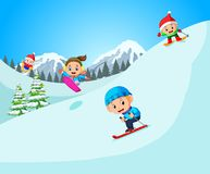Happy skier in high mountain stock illustration