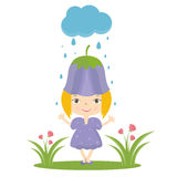 Illustration of happy small girl in flower hat Stock Image