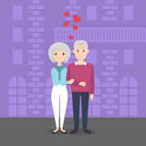 Illustration of happy smiling senior married couple in lo Stock Photos