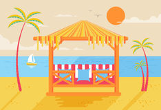 Illustration of happy sunny summer day at beach with bungalows for recreation  Stock Photography
