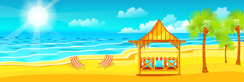 Illustration of happy sunny summer day at beach with bungalows Royalty Free Stock Photo