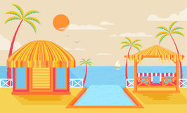 Illustration of happy sunny summer day at beach, bungalows on water Stock Photos