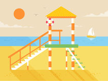 Illustration of happy sunny summer day at the beach, lifeguard tower on island with bright sun in flat style Royalty Free Stock Images