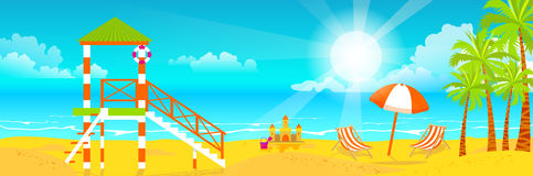 Illustration of happy sunny summer day at the beach. Lifeguard tower on island with bright sun, palm trees in flat style Royalty Free Stock Photography