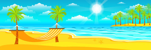 Illustration of happy sunny summer day at the beach. Stock vector illustration of happy sunny summer day at the beach with a hammock on the island with a bright Stock Photo