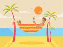 Illustration of happy sunny summer day at beach with tanned man Stock Photos
