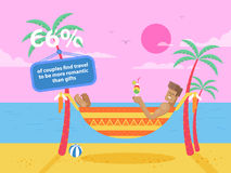 Illustration of happy tanned man rests in a hammock. Stock vector illustration of happy tanned man rests in a hammock between two palm trees at the seaside Royalty Free Stock Image