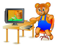Illustration of happy teddy bear seeing honey in computer. Royalty Free Stock Images