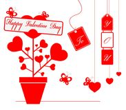 Illustration happy valentine day with ornament for decorative festival of love. Greeting valentine card with lettering,red heart,butterfly and gift on white Royalty Free Stock Photos