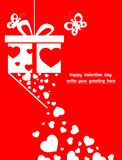 Illustration happy valentine day with ornament for decorative festival of love. Greeting valentine card and white heart,butterfly with gift on red background Royalty Free Stock Image