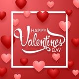 Happy Valentine`s Day background with red hearts. Illustration of Happy Valentine`s Day background with red hearts Royalty Free Stock Photo