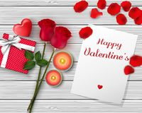 Happy Valentine`s Day greeting banner. Top view on romantic with gift box and red heart. Beautiful backdrop with rose flower and c Royalty Free Stock Photography