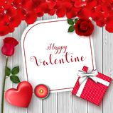 Happy Valentine`s Day greeting banner. Top view on romantic with gift box and red heart. Beautiful backdrop with rose flower and c Royalty Free Stock Photo