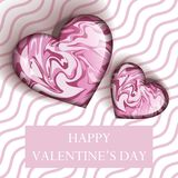 Illustration happy valentines day greetings with candy heart shape. On pink wave line background, candy love milk and strawberry, 3d realistic vector Royalty Free Stock Photos