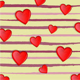 Happy valentines day greetings with a lot of heart on yellow background Royalty Free Stock Image