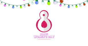 Illustration of Happy Women`s Day 8th March concept, Colorful light with white background.  stock illustration