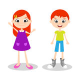 Illustration of happy young boy and girl with freckles Royalty Free Stock Photo