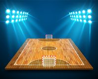 An illustration of hardwood perspective Futsal court or field with bright stadium lights design. Vector EPS 10. Room for copy.  Royalty Free Stock Images