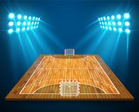 An illustration of hardwood perspective handball field, cort with bright stadium lights design. Vector EPS 10. Room for copy.  Royalty Free Stock Photos