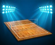 An illustration of hardwood perspective vollyball field court, net with bright stadium lights shining on it. Vector EPS 10. Room f. Or copy Stock Photography