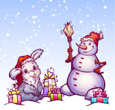 Illustration of hare and snowman Stock Photo