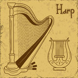 Illustration of  harp and lyre Stock Photo