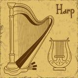 Illustration of  harp and lyre. Vintage illustration of  harp and lyre Stock Photo
