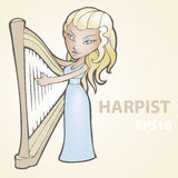 Illustration of a harpist. Royalty Free Stock Image