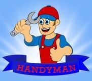 Illustration Haus-Heimwerker-Displaying Home Repairmans 3d Lizenzfreie Stockfotos