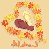 Illustration of Hawaiian flower garland and flip f Stock Photos