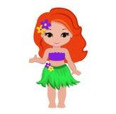 Illustration Hawaiian girl indicates hand on something. Stock Image