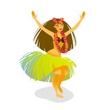 Illustration of a Hawaiian hula dancer woman Royalty Free Stock Photos