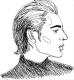 Illustration, Head of young man. One line design Stock Photography