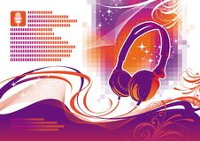 Illustration with headphones Royalty Free Stock Image