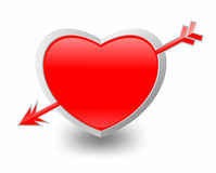Illustration of heart and arrow Royalty Free Stock Photos