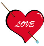 Heart with arrow. Illustration of an heart with arrow Stock Images