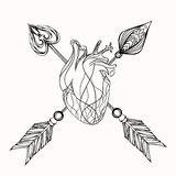 Illustration of heart and arrow. Royalty Free Stock Images