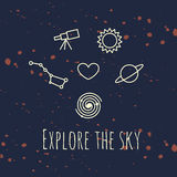 Illustration of heart and astronomic objects. With phrase - explore the sky Stock Photos