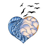 Illustration of heart with birds Stock Photography