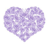 Illustration heart of butterflies. On white background Royalty Free Stock Photos
