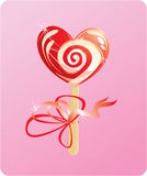 Illustration of heart candy -  lollipop Royalty Free Stock Photos