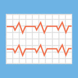 Illustration of a heart cardiogram wave on a piece of paper. Stock Photo