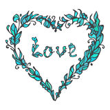 Illustration of heart. Hand drawn love doodle. Blue and green colors. Vector element isolated on white background. Hippie style. Decorative Greeting Card Stock Photos