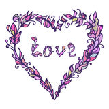 Illustration of heart. Hand drawn love doodle. Pink and purple. Stock Photography